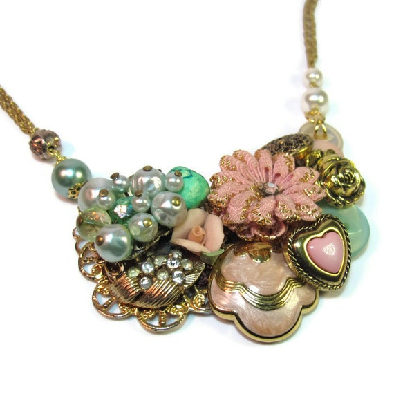 statement necklace repurposed jewlery pink and green