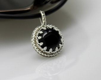 Onyx Pendant, Black Onyx Pendant, Black Stone Pendant, Black Jewel Pendant, Silver Pendant, Sterling Silver Pendant, Rope Pattern Pendant