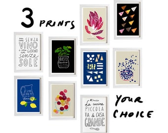 "Your Choice Print Set of 3 - 11""x15"" - Food Art - Kitchen Print Set - archival fine art giclée prints"