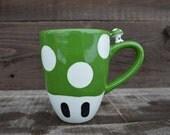 Get A Life - Ceramic 1 Up Mushroom Mug - Green and White - Mario Toad Inspired