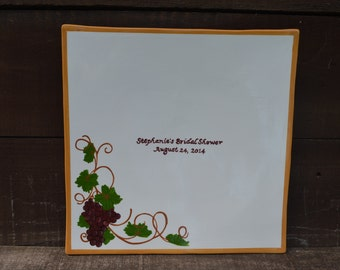 Custom Bridal Shower Signature Guestbook Platter - Personalized with Your Name and Date - Wine Grapes Theme