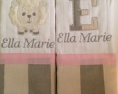 Set of 2 personalized custom monogrammed burp cloths grey, ivory and pink lamb