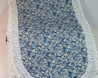 Vintage Blue Flowered table runner 88 x 13 Amish Made