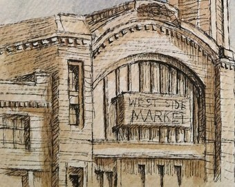 Historic Cleveland West Side Market- Original Watercolor Painting Print- Rust Belt Architecture