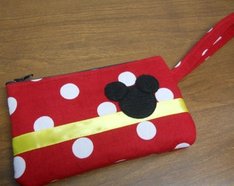 MIckey Mouse Theme Wristlet/Red and White Polka Dot /Yellow Ribbon