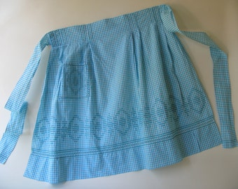 Vintage Gingham Check Apron, cross stitch, embroidered, turquoise