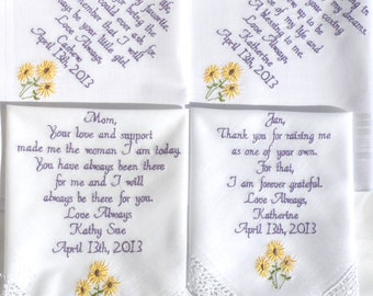Sunflower Wedding Theme Embroidered Wedding Handkerchiefs Wedding SunFlowers Set of Four 4 Embroidered Handkerchiefs by Canyon Embroidery