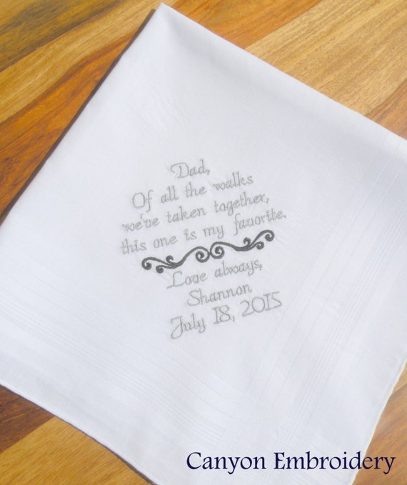 Father of the Bride Custom Wedding Handkerchief By Canyon Embroidery on ETSY