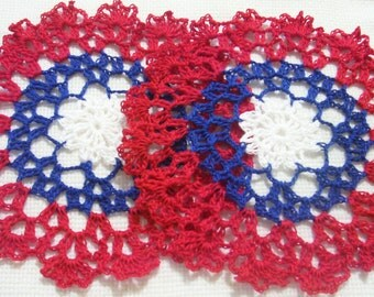 red white and blue 4th of July patriotic USA flag colors crocheted doily home decor handmade in USA original design