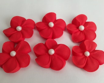 LOT of 100 Royal Icing in red with sugar pearl