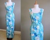 60s Dress Floral Vintage Blue Hawaiian Maxi Large XL