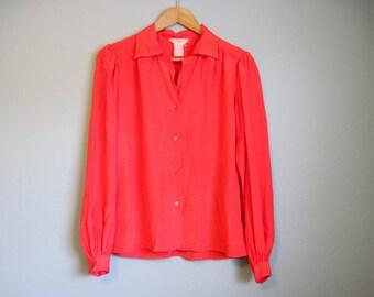 Red Blouse Vintage Oversized Drapey 1980s Secretary Medium