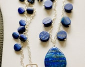 Blue Lapis Lazuli Gemstone Necklace with Sterling Silver Chain and Blue Lapis Teardrop Pendant-Beadwork Necklace
