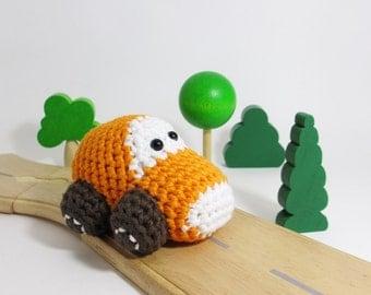 Toy car baby rattle - organic baby toy - orange and brown - eco friendly stuffed toy - amigurumi car