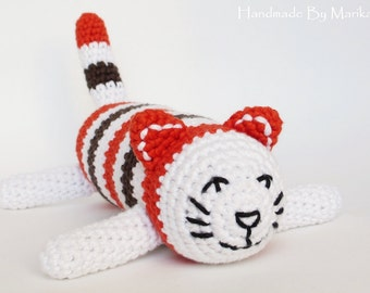 Amigurumi cat baby rattle soft toy - organic cotton - rusty red, brown and white