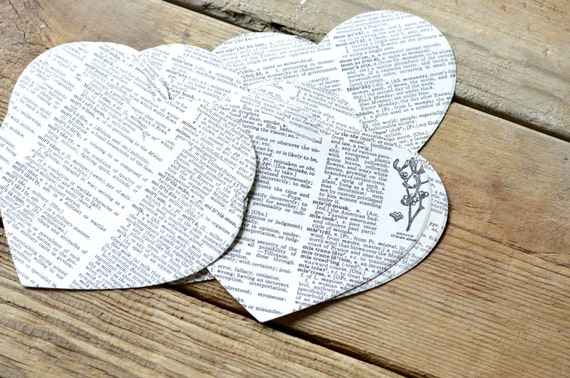 Extra Large Vintage Book Heart Shapes, 10 pieces