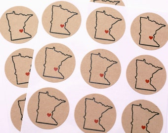 "With LOVE FROM MINNESOTA with red heart on Twin Cities - 1"" round sticker labels- packaging, gift wrapping, cards, invitations"