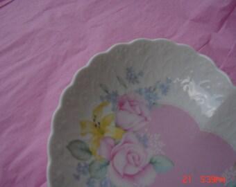 Vintage White Bone China Heart Trinket Dish - Beautiful