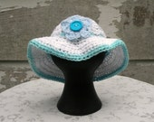 Baby Sun Hat, Wide Brim Hat, Crocheted, White Cotton With Blue Trim, 3 to 6 Months Size