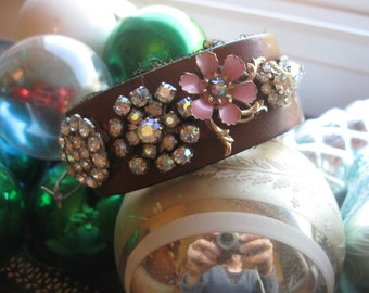 Vintage Dream.vintage leather cuff jewelry assemblage bracelet