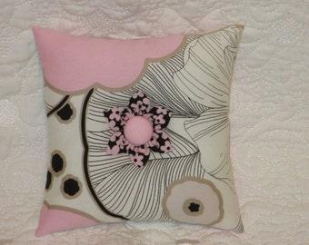 Pincushion - Large Square Over-Stuffed PinCushion - Pink, Black, and White Fabric.