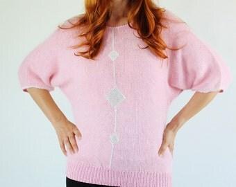 SALE - Vintage Pink Diamond Glam Applique Angora Blend Sweater