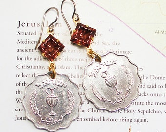 Israel, Vintage Coin Earrings - - Feast of Booths - - Celebration - World Traveller - ReCycled - UpCycled