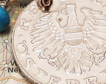 Austria, Vintage Coin Necklace - - Land by the River - - Eagle - Old World - Europe - Travel