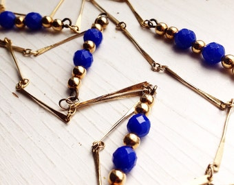 Blue and Gold Long Necklace / Vintage