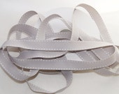 5 yards, 3/4 inch Grey / Gray Saddle Stitch Grosgrain Ribbon, Trim, Hair bows, Scrapbooking, Cards (SS-11)