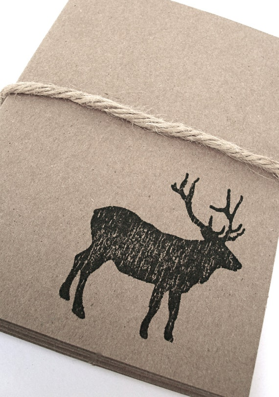 Elk Moose Note Cards - Mountain - Wildlife - Cabin - Gift Cards - Stationery - Brown Kraft Card Stock