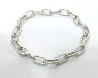 Silver Bracelet Component Silver Plated Bracelet Chain, Findings, 11x7 mm G2204