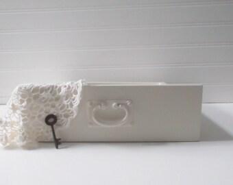 Vintage White Wood Drawer Wedding Card Box Seating Card Box Weddings Decoration Boxes Cottage Shabby Chic