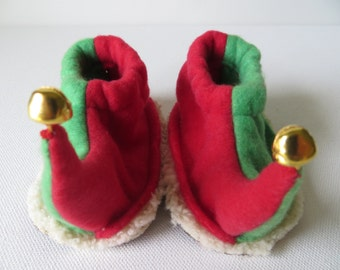 Elf Slippers: Baby, Toddler and Child Jingling Elf Shoes - Red and Green