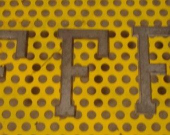 Vintage Small Metal Zinc Letter F