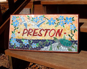 Custom Mosaic Signs  /  Plaques - Name or Address - Wedding Gifts