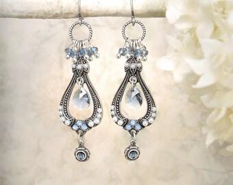 La Belle Époque, Blue Crystal Earrings Silver Chandelier Earrings Romantic Silver Blue Earrings Vintage Style Pearl Earrings Bridal Jewelry