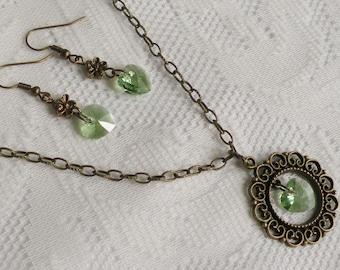 Victorian Garden Peridot Swarovski Crystal Heart Necklace and Earring Set