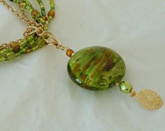 Green Glitz Glass Multi-Strand Necklace