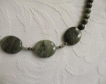 Green Line Jasper Asymmetrical Necklace