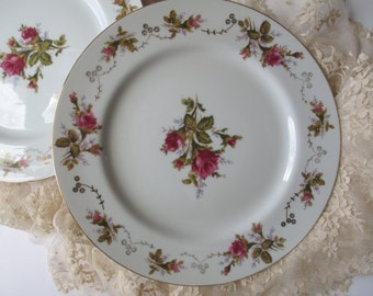 Vintage Summit China Moss Rose Dinner Plates Set of Four