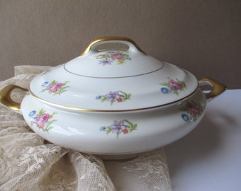 Vintage Jackson Featherweight Floral Covered Dish