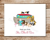Set of 8 Baby Thank You Cards - Noah's Ark, Religious - Stationery - Notecards, Note Cards - Blank Cards - Personalized