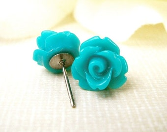 Teal Rose Stud Earrings- Surgical Steel or Titanium Posts- 10mm