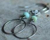 SALE Sterling Silver Hoop Earrings Oxidized Modern Artisan Textured Hoops Turquoise Czech Glass Beaded Earrings