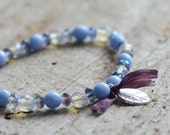 Periwinkle Blue and Lavender Stretch Bracelet Opal Czech Glass Beaded Charm Bracelet with Hill Tribe Silver Leaf Charm Boho Style Jewelry