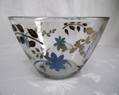 Bowl-Hand painted bowl-large glass bowl-painted flowers