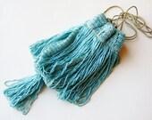 Vintage 20s Art Deco Great Gatsby Blue Glass Beaded Fringe Drawstring Purse Handbag