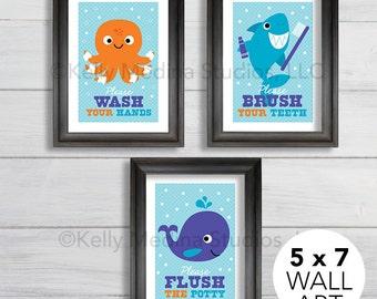 Sea Animal Bathroom Nursery Art Print Set, 5x7, Kids Bathroom Decor, Baby/Children Wall Art - Wash, Brush, Flush Wall Art by Kelly Medina