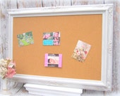 LARGE FrAMED CORK BOARD Memo Board White Shabby Chic Home Message Board French Country Kitchen Home Organizer Bridal Gift